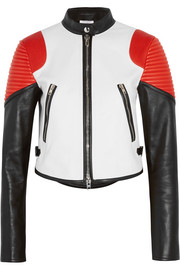 Givenchy Cropped color-block leather biker jacket