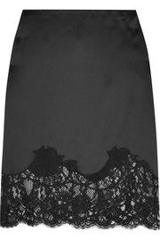 Lace-trimmed silk-satin skirt