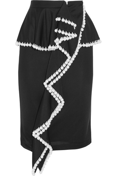 Givenchy - Faux Pearl-embellished Jersey Peplum Skirt - Black