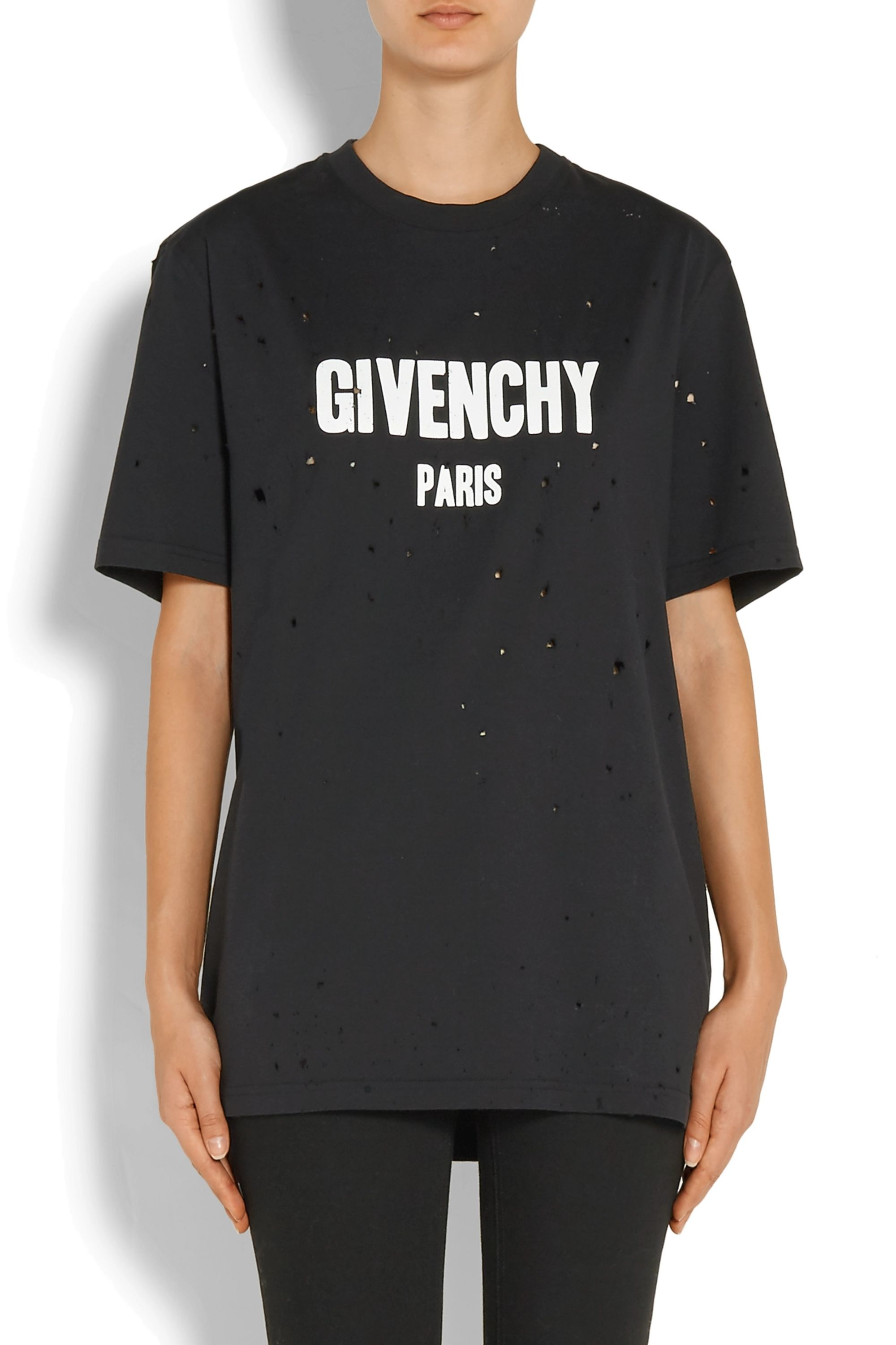 Givenchy Distressed printed cotton-jersey T-shirt