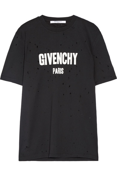 Givenchy Distressed Logo print Cotton jersey T shirt in