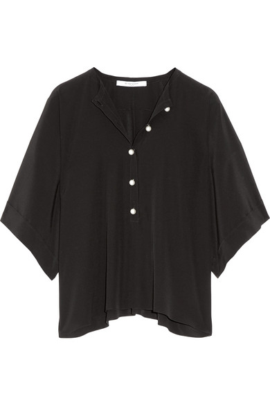 Givenchy - Faux Pearl-embellished Silk-satin Top - Black