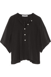 Givenchy Faux pearl-embellished silk-satin top