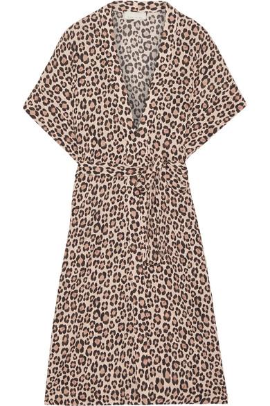 Fleur Du Mal - Leopard-print Silk-satin Robe - Leopard print