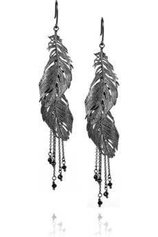 Alex%20Monroe Ruthenium-plated%20sterling%20silver%20feather%20earrings