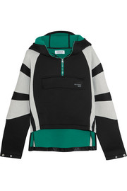Cotton jersey-paneled neoprene hooded top