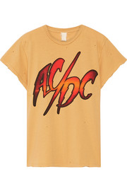 MadeWorn AC/DC distressed printed cotton-jersey T-shirt