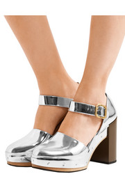 Marni Metallic leather platform pumps