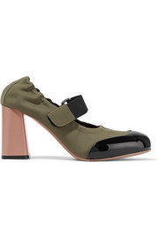 Patent leather-trimmed neoprene pumps