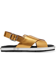 Marni Laser-cut metallic leather sandals