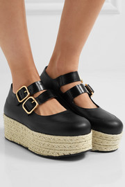 Marni Leather espadrille platform pumps