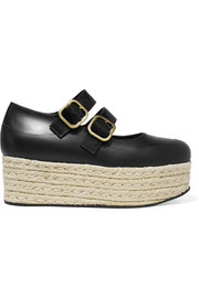 Leather espadrille platform pumps