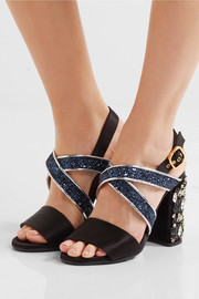 Marni Leather-trimmed embellished satin sandals
