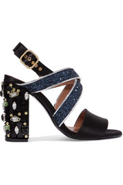 Leather-trimmed embellished satin sandals
