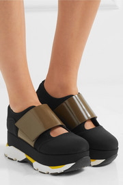 Marni Neoprene, mesh and glossed-leather sneakers