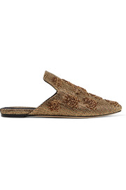 Ragno Cosmic woven metallic raffia slippers