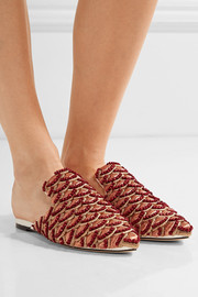 Bacio embroidered twill slippers