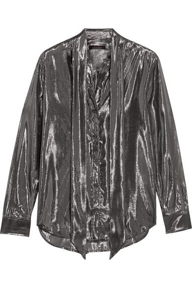 Kate Moss for Equipment - Slim Signature Pussy-bow Metallic Silk-blend Shirt - Gunmetal
