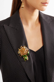 Dolce & Gabbana Gold-tone, crystal and enamel brooch