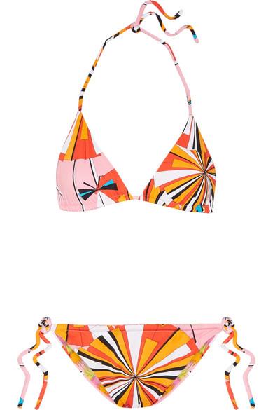 Emilio Pucci - Reversible Printed Triangle Bikini - Orange