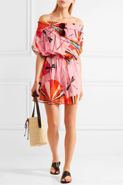 Emilio Pucci Off-the-shoulder printed cotton-voile mini dress