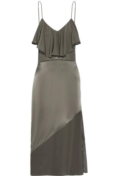 Fleur Du Mal - Chiffon-paneled Ruffled Silk-satin Midi Dress - Charcoal