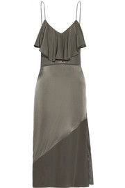 Fleur Du Mal Chiffon-paneled ruffled silk-satin midi dress
