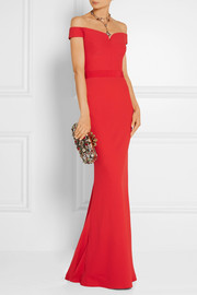 Alexander McQueen Off-the-shoulder crepe gown