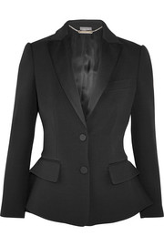 Wool and silk-blend peplum tuxedo blazer