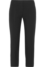 Alexander McQueen Cropped satin-trimmed wool and silk-blend crepe slim-leg pants