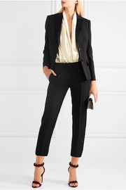 Cropped satin-trimmed wool and silk-blend crepe slim-leg pants