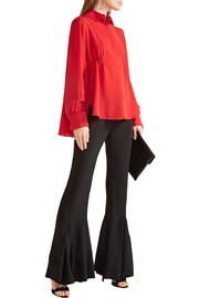Asymmetric silk-georgette blouse