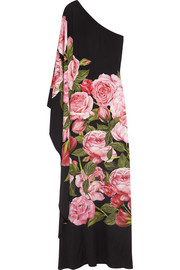 One-shoulder floral-print silk-charmeuse gown
