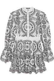 Alexander McQueen Tiered broderie anglaise cotton mini dress