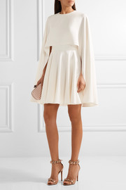 Alexander McQueen Cape-back silk-cady mini dress