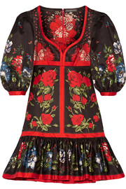 Alexander McQueen Floral-print cotton mini dress
