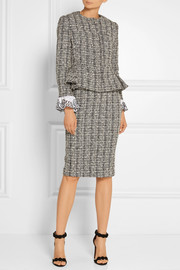 Cotton and wool-blend tweed peplum jacket
