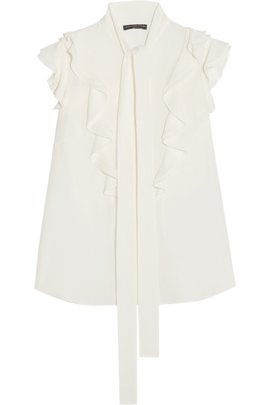 Alexander McQueen - Pussy-bow Ruffled Silk-georgette Blouse - White