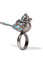 Valentino Burnished enameled silver-tone ring