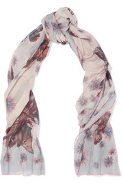 Pleated printed cotton and silk-blend scarf