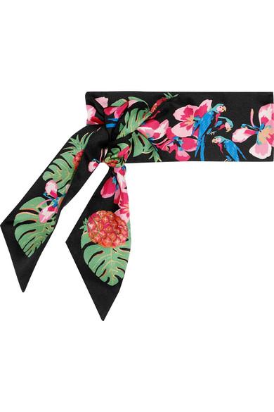 Valentino - Printed Silk-twill Scarf - Black
