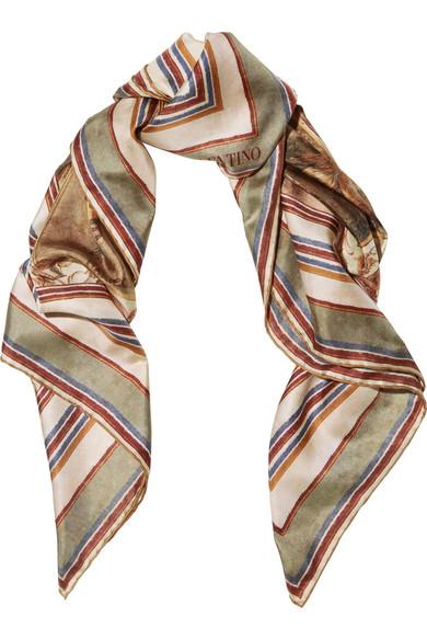 Valentino - Printed Silk-twill Scarf - Brown