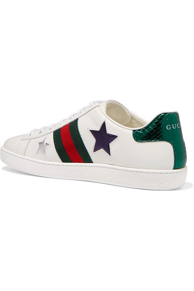 Gucci. Ace metallic ayers-trimmed leather sneakers.  650. Zoom In 7b7f18293641e