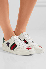 Gucci Ace metallic ayers-trimmed leather sneakers