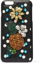 Embellished printed textured-leather iPhone 7 Plus case
