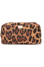 Leopard-print shell cosmetics case