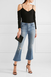The Nomad cropped distressed mid-rise flared jeans