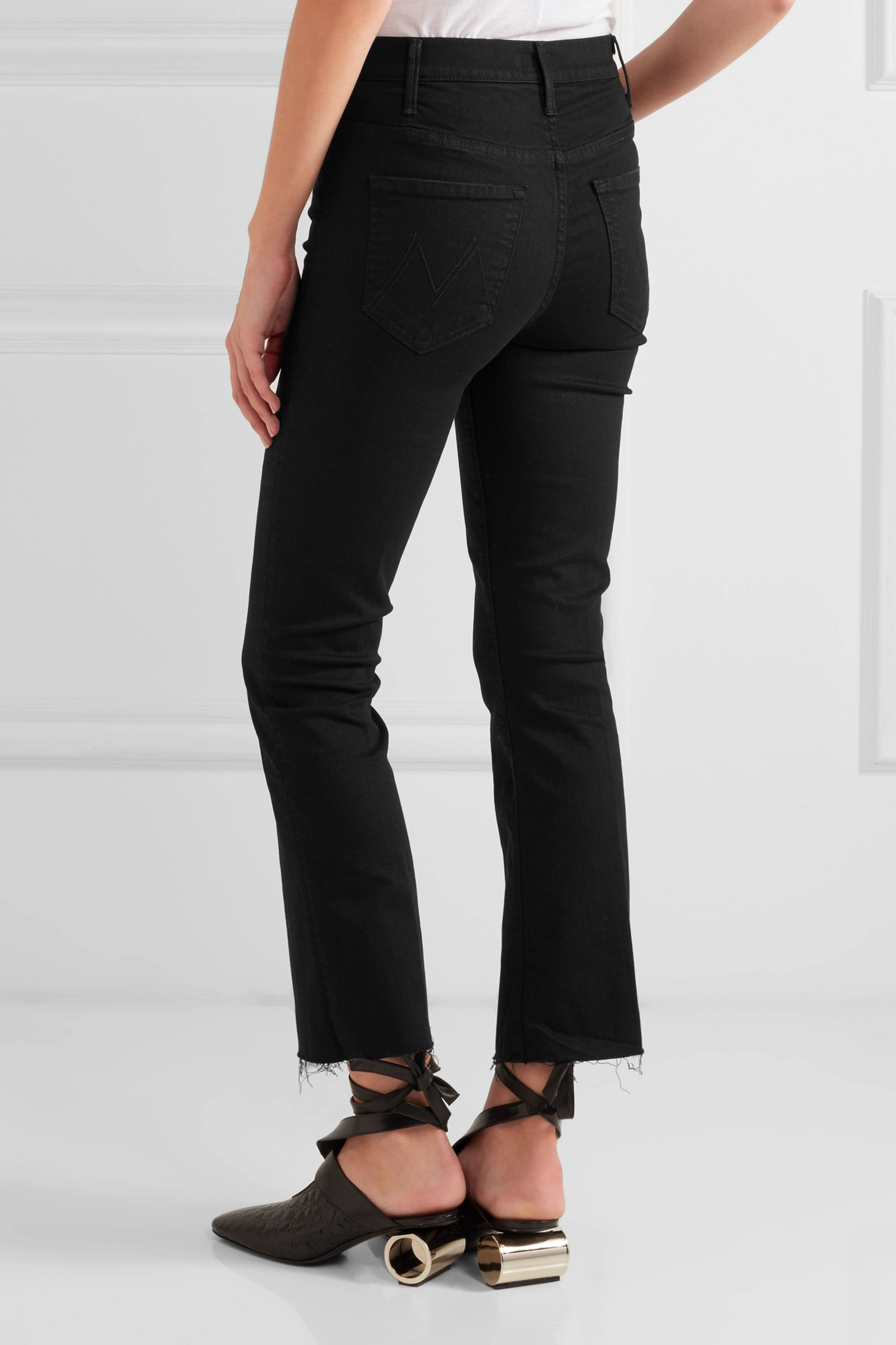 Mother The Hustler distressed cropped high-rise flared jeans