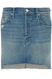 The Step distressed stretch-denim mini skirt