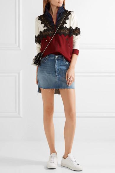 Mother | The Step distressed stretch-denim mini skirt | NET-A ...